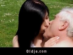 Young, horny babe fucks and sucks old man