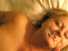 Mature golden-haired gets a freak facial