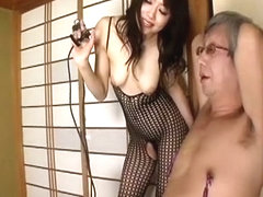 Horny Japanese model in Incredible Fishnet, Blowjob/Fera JAV movie
