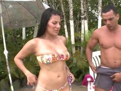Having a random sex beside the swimming pool with stunning Juliana