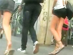 Up skirt booty action caught on tape by horny voyur.