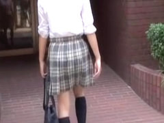 Elegant small schoolgirl flashes her tits during wicked sharking attack