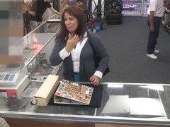 Milf pawns her hubbys old coins for cash to bail his out