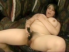 Horny Fat Chubby girl Ex GF playing with hairy wet Pussy