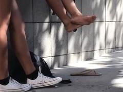 Candid Bare Asian Teen Feet