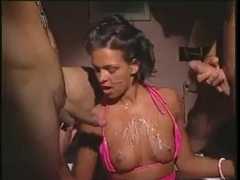 Ebony group sex video with european naughty action