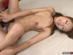 Stunning and sexy Asian babe pussy fondled and double penetrated