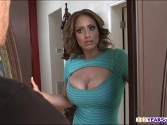 Eva seduces Danny and deepthroats his cock before she gets rammed