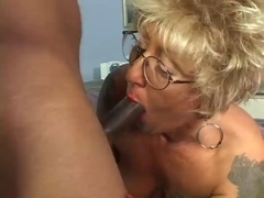 Blonde granny getting her first big black cock on video