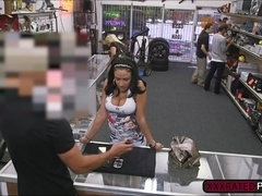 Latina deepthroats pawnshop owners dick and gets fucked