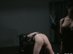 Busty mistress spanking dude in bdsm bondage cumshot