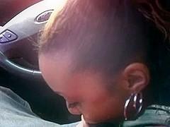 Car blowjob from ebony GF