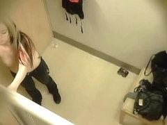 Emo teen with tattoos caught on hiddencam dressing room vid