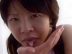 Skinny Asian girl Haruka Aida hot blowjob