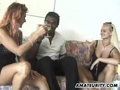Amateur interracial 3some with facial cumshot