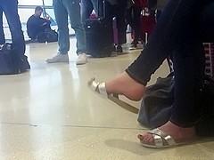 Candid sandal dangling at airport (faceshot) pt1