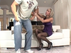 Big tits blonde mature milf in stockings heels fucks