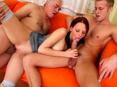 sexy chick enjoys threesome with older man and lover that fucks her sweet pussy - OldGoesYoung