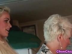Cfnm lady strokes bound losers cock