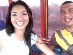 Young latina Dayana get naughty in bus