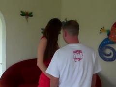 Big tittied milf is stripping before fellow