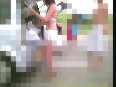 Girl bends over putting on lingerie on changing room spy cam snr26