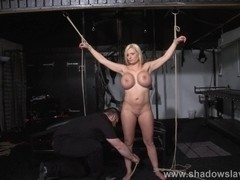 German ###girl Melanie Moons electro bdsm and zapped electric toy tortures of tied submissive in b.