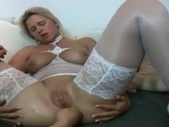 I am pierced MILF in white stocking fisted Pussy piercings