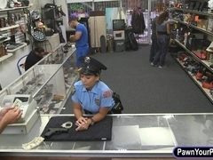 Ms security officer posed naked and fucked at the pawnshop