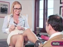 Stunning blonde babe Kathia Nobili seduces horny man
