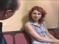Redhead with hairless love tunnel sucks and acquires fucked on a table