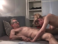 Young masked babe sucking old cock
