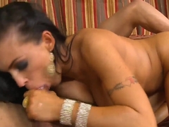 Astounding brunette mistress Jenna Presley fucks in the doggystyle after great blowjob