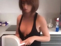 Short hair redhead girlfriend wearing lose clothes