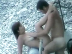 Busty nudist fucked from behind