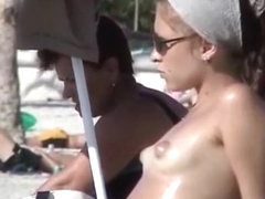 Big nipples on the beach
