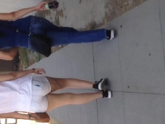 Two fat Mexican booty walking