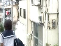 Sharking Shuri scene of wonderful Japanese schoolgirl being nicely intercepted