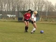 Two Sexy Teen Girls Outdoor Lesbian Football Fun