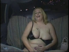 Lewd Overweight Bulky Party Cutie masturbating in Taxi Cab, P3
