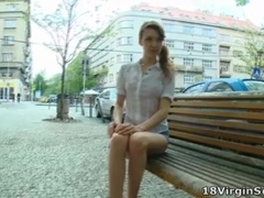 Kristina is awaiting patiently on a park bench waiting for her sexy man to arrive.