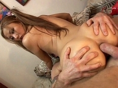 Oriental playgirl acquires a creampie