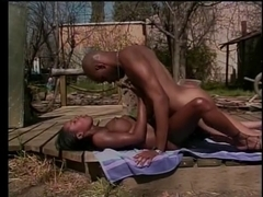 Dark honey acquires jizzed on after giving Bj and riding dick