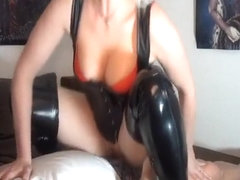 Dressed in her leather is what she likes