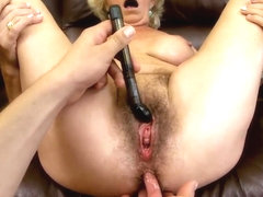 Blonde granny with hairy pussy Effie plays with young boyfriend in the POV scene