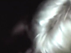 Blonde partyslut blows a guy's cock, while getting doggystyle fucked in a threesome.