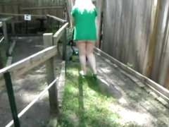 Mature neighbor trims the yard with no undies on