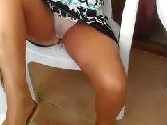 Fuckable cracker shows off her twat through white transparent panties