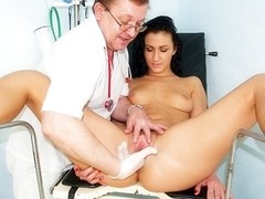 Hot slim brunette Lydia gyno speculum exam
