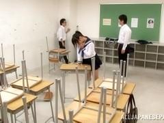 Japanese AV Model horny schoolgirl enjoys sex in class